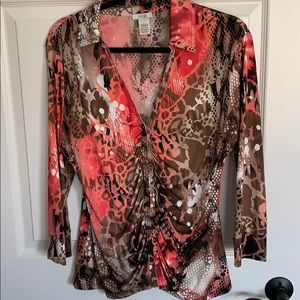 Cache large animal print top.